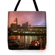 Red Sunset Sky In Cincinnati Ohio Tote Bag
