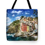 Cinque Terre - Riomaggiore From Above- Vintage Version Tote Bag