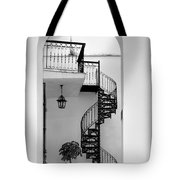 Circular Staircase In Black And White Tote Bag
