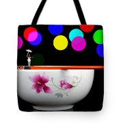 Circus Balance Game On Chopsticks Tote Bag