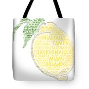 Citrus Fruit Illustrated With Cities Of Florida State Tote Bag