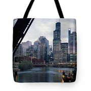City At The Waterfront, Chicago River Tote Bag