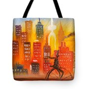 City Cycle In The Warm Evening Tote Bag