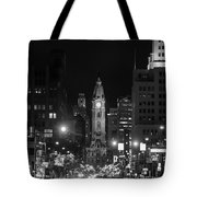 City Hall - Black And White At Night Tote Bag