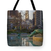 City Hall Reflecting In Swann Fountain Tote Bag