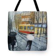 City In Rain Tote Bag