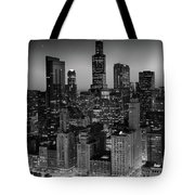 City Light Chicago B W Tote Bag