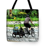 City Man On A Bike Tote Bag
