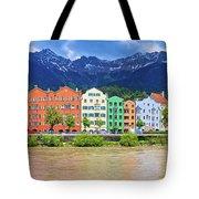City Of Innsbruck Colorful Inn River Waterfront Panorama Tote Bag