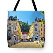 City Of Ljubljana View From Tromostovje Bridge Tote Bag