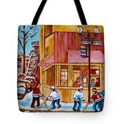 City Of Montreal St. Urbain And Mont Royal Beautys With Hockey Tote Bag