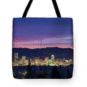 City Of Portland Oregon Skyline At Twilight Tote Bag
