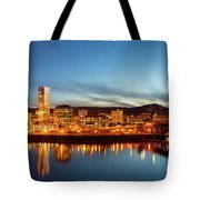 City Of Portland Skyline Blue Hour Panorama Tote Bag