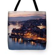 City Of Porto In Portugal At Dusk Tote Bag