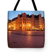 City Of Wroclaw Old Town Market Square At Night Tote Bag