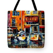 City Pier - Palette Knife Oil Painting On Canvas By Leonid Afremov Tote Bag
