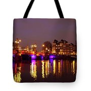 City Scenic From Amsterdam With The Blue Bridge In The Netherlands Tote Bag