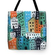 City Stories- Blue And Orange Tote Bag