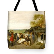 City Travellers Being Offered Fruit Tote Bag