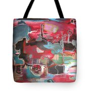 Citysacpe At Twilight  Original Abstract Colorful Landscape Painting For Sale Red Blue  Tote Bag