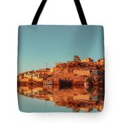 Cityscape For The Beautiful Nubian City Aswan In Egypt At The Golden Hour Of The Sunset Time. Tote Bag