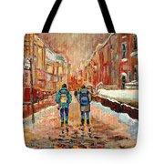 Cityscape In Winter Tote Bag