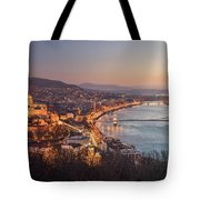 Cityscape Of Budapest, Hungary At Night And Day Tote Bag
