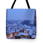 Cityscape Of Utrecht With The Dom Tower  In The Snow 13 Tote Bag