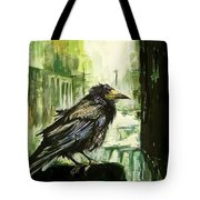 Cityscape With A Crow Tote Bag
