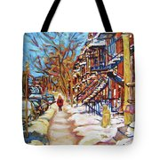 Cityscene In Winter Tote Bag
