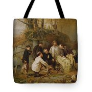 Claiming The Shot - After The Hunt In The Adirondacks Tote Bag by John George Brown