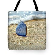 Clamshell In The Waves On Assateague Island Tote Bag by Assateague Pony Photography