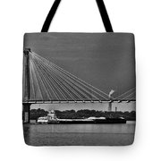 Clark Bridge And Barges In Black And White  Tote Bag