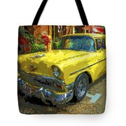 Classic 56 Chevy Car Yellow  Tote Bag
