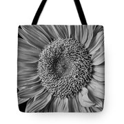 Classic Black And White Sunflower Tote Bag