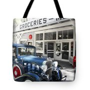 Classic Chevrolet Automobile Parked Outside The Store Tote Bag