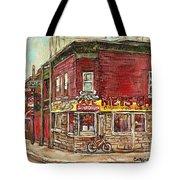 Classic Chinese Restaurant Montreal Memories Silver Dragon Canadian Paintings Carole Spandau         Tote Bag