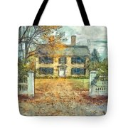Classic Colonial Home In Autumn Pencil Tote Bag