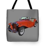 Classic Red Mg Tc Convertible British Sports Car Tote Bag