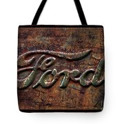 Classic Rusty Ford Pickup Truck Logo Detail Tote Bag
