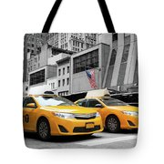 Classic Street View Of Yellow Cabs In New York City Tote Bag