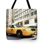 Classic Street View With Yellow Cabs In New York City Tote Bag