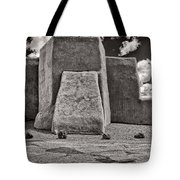 Classic View Of Ranchos Church In B-w Tote Bag