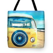 Classic Vw Camper On The Beach Tote Bag