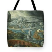 Classical Landscape With Ships Running Before A Storm Towards A Classical Harbour Probably Corinth Tote Bag