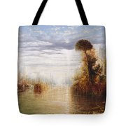Classical River Landscape With Figures On The Steps Below A Temple Embarking Boats Tote Bag