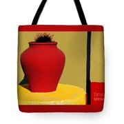 Clay Pot In Red Tote Bag