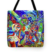 City At Night Music And Wine Abstract Tote Bag