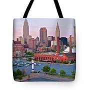 Cle Sunset View From The Shoreway Tote Bag