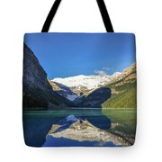 Clear Reflections In The Water At Lake Louise, Canada. Tote Bag